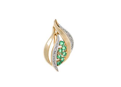 Diamond-Emerald-Brooch-9ct-Gold-BR00003