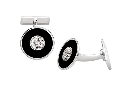 Silver-Cufflinks-with-Black-Enamel-CK00100
