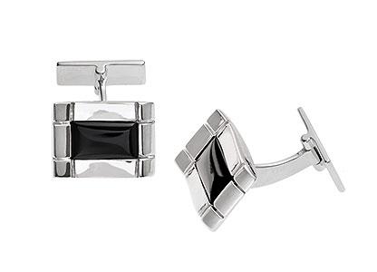 Silver-Rectangular-Onyx-Cufflinks-CK00104