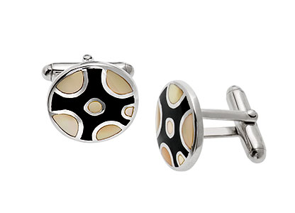 Round-Yellow-Silver-Cufflinks-CK00133
