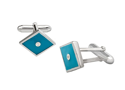 Blue-Enamelled-Cufflinks-Real-Silver-CK00154