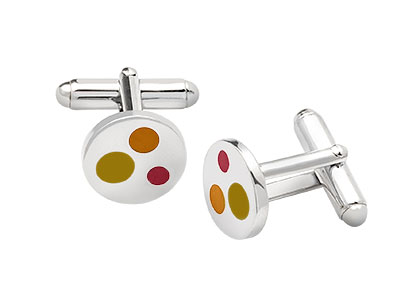 Silver-Cufflinks-Orange-Enamel-CK00179