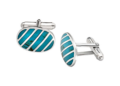 Real-Silver-Turquoise-Cufflink-CK00226