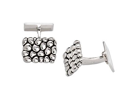 Silver-Cufflinks-Cobblestone-Design-CK00090