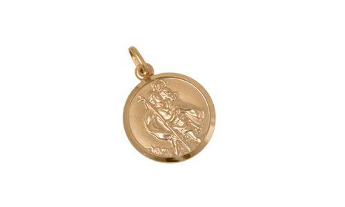 Gold-St-Christopher-Pendant-Round-CM00223
