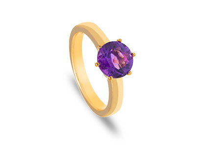 a90cf2c3b 99CT YELLOW GOLD ROUND AMETHYST DRESS RING R00112
