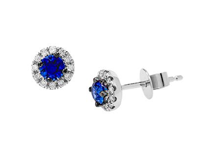 Blue Sapphire Earrings White Gold ESA00427