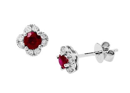 Diamond-&-Ruby-Flower-Earrings-ESA00433