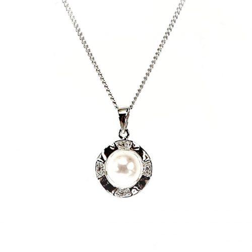 White-Gold-Diamond-Pearl-Pendant-Necklace-P00378