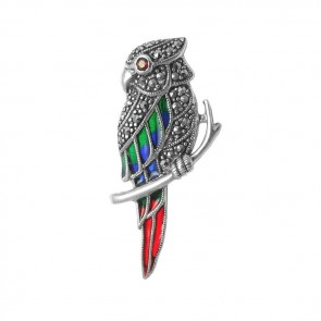 Silver-Marcasite-Parrot-Brooch-BRS00079