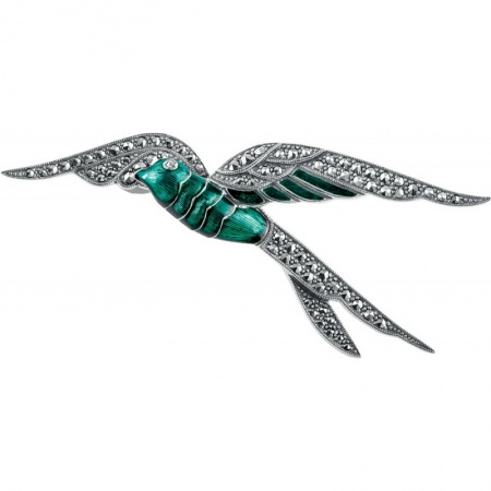 Real-Silver-Swallow-Brooch-Green-BRS00071