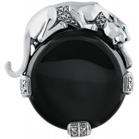 Onyx-&-Silver-Panther-Brooch-BRS00083