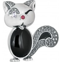 Winking-Cat-Brooch-Silver-BRS00082