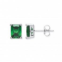 Rectangular-Green-Stud-Earrings