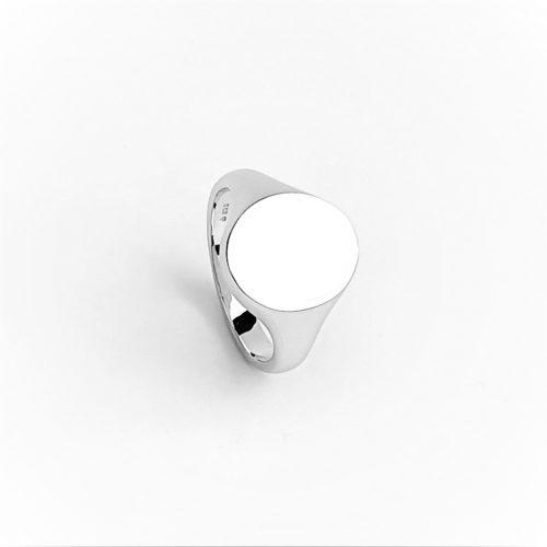 White-Gold Oval Signet Ring RG00043